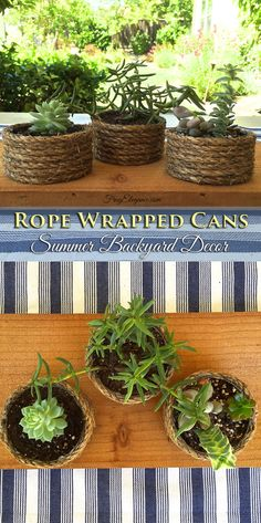 Twisted Rope Wrapped Cans - FrugElegance. Like the look of the different sizes of upcycled cans such as coffee and tuna. Makes a beautiful planter for indoors or out. Click through to the step-by-step tutorial.