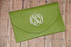 Monogrammed clutch FREE shipping by MegsMonogramsandMore on Etsy