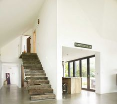 Natural light, modern design and open spaces transform stone cottage into a contemporary home Polished Concrete Flooring, Flagstone Flooring, Farm Cottage, Cottage Style Homes, Cottage Hallway, Bungalow Interiors, Farmhouse Architecture, Stone Cottages, Cottage Renovation