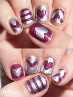 Sparkly Hearts and Stripes | Little Nails