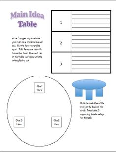 Classroom Freebies Too: Main Idea Table