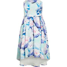 City Chic Perfect Peony Dress ($85) ❤ liked on Polyvore featuring dresses, lilac dress, strapless dress, strapless high low dress, floral dress and mint green dress