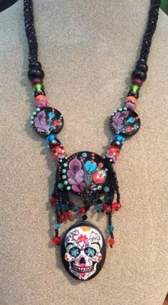 Day of the Dead Lampwork Necklace  by Cassandra Graham