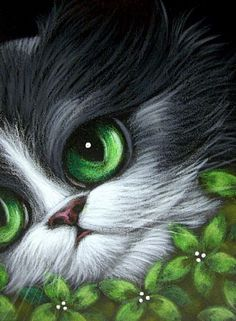 BLACK CAT - GREEN FLOWERS - by artist Cyra R. Cancel @ http://www.ebsqart.com