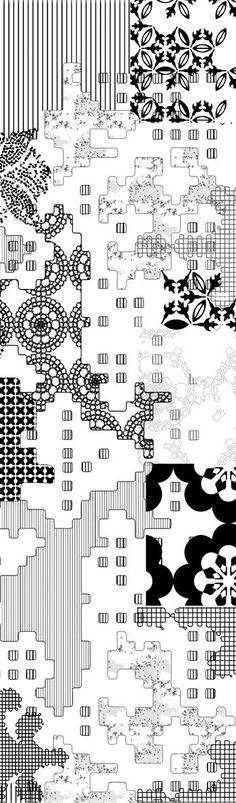 Indoor porcelain stoneware wall/floor tiles BAS-RELIEF PATCHWORK NERO BAS-RELIEF Collection by MUTINA | design Patricia Urquiola