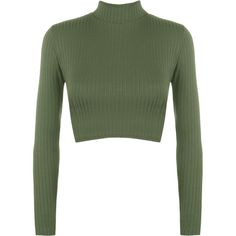 Darcie Turtle Neck Ribbed Crop Top ($17) ❤ liked on Polyvore featuring tops, green, long sleeve turtleneck, fitted tops, turtle neck crop top, ribbed turtleneck and crop top