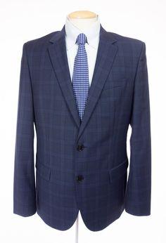 HUGO BOSS Recent Halsey2/Merrill2 Suit 52 42 Reg L Blue Glen Check Wool Jacket #HUGOBOSS #TwoButton
