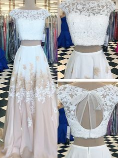 Lace two-piece prom dress