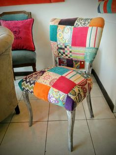 Silla patchwork Vanity Bench, Dining Chairs, Furniture, Home Decor, Scrappy Quilts, Chairs, Decoration Home, Room Decor, Dining Chair