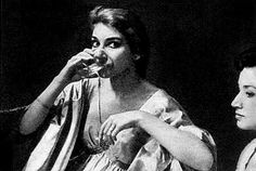 Maria Callas at the backstage of the Teatro alla Scala after a successful performance of Il pirata (Milan, 1958).