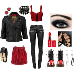 """""""Black & Red inspired"""" by milky-silvers on Polyvore"""