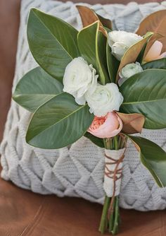 Unique large leaf bouquet  | photo by carlie statsky photography | 100 Layer Cake
