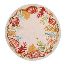 Round Seashell Coastal Rug