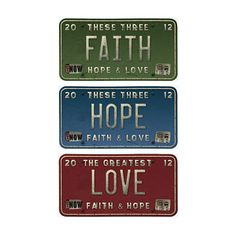 "Vintage License Plates saying ""Faith"" ""Hope"" and ""Love,""  High Resolution 5×3 inch in Red, Green, Blue colors"