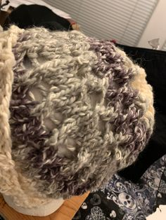 Knitted hat made with reflective ribbon for the FiberRhythm visible headwear design challenge. Hat Making, Knitted Hats, Ribbon, Challenges, Dreadlocks, Hair Styles, Beauty, Design, Tape