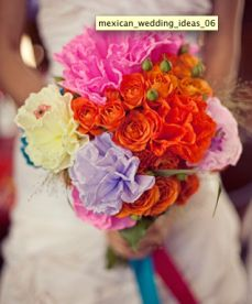 Colorful Mexican wedding bouquet made out of paper flowers. Looks CHIC, not cheap.