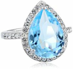 Sterling Silver Swarovski Aquamarine Color Crystal and Clear Crystal Ring #unusualengagementrings