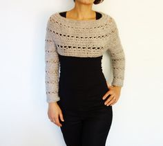 Crochet Pattern - Caramel Cropped Sweater/ Chunky Knit Short Jumper/Easy Handmade Top/ Fitted Pullover - New Ideas Knit Shrug, Crochet Cardigan, Shrug Sweater, Crop Top Sweater, Sweater And Shorts, Crochet Hood, Crochet Crop Top, Work Tops, Knitting Designs