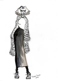 Long knitted skirt with maxi vest, illustrated by TESSA KOOPS www.tessakoops.com