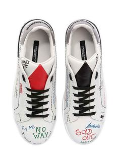 441747d07e96ce Oh My Footwear! DOLCE   GABBANA - 20MM LVR EDITIONS LEATHER SNEAKERS -  WHITE MULTI Leather Heels