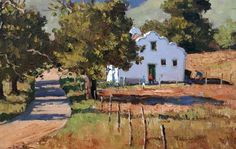paintings by Roelof Roussouw - Cape countryside Watercolor Landscape, Landscape Paintings, Oil Paintings, South African Artists, Art And Architecture, Love Art, Painting Inspiration, Art Drawings, City Scapes
