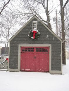 """From """"The Cottage Nest""""  ...Grey shingles and a shade of red door. like garage door"""
