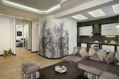 Wohnzimmer Modern Tapezieren Wande Ideen Laublose Baume Wohnkueche