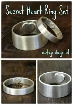 Secret Heart wedding ring set from Monkeys Always Look monkeysalwayslookshop.com
