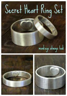 Secret Heart wedding ring set from Monkeys Always Look monkeysalwayslookshop.com