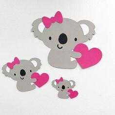 KOALA Bear Set A Die cuts CHOOSE your SIZE Koala cutouts Birthday party decoration Heart Valentines day love cupcake toppers cake toppers cute koala bear