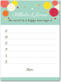 Bridal Shower Games cards.