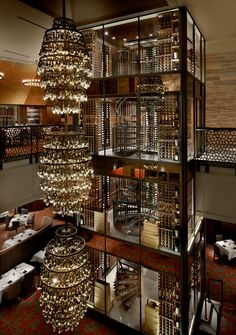 Extraordinary four stories wine cellar at the Del Friscos Restaurant in Chicago #winecellar #winelibrary #interiordesign - More wonders at www.francescocatalano.it