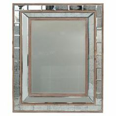 """Evoke Art Deco style in your hallway or parlor with this chic wall mirror, showcasing a mirrored frame and beveled design.   Product: Wall mirrorConstruction Material: Wood and mirrored glassColor: Silver and naturalDimensions: 31.5"""" H x 18.5"""" W x 2.5"""" D"""