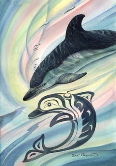 Dolphin - Sue Coleman, Painter, environmentalist who lives on Vancouver Island. White sided dolphins inhabit the Great Bear Sea. Dolphin Painting, Dolphin Art, Arte Haida, Haida Art, Native Symbols, Native Art, Great Works Of Art, Fantastic Art, American Indian Art