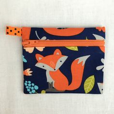 Orange Fox on Navy Zipper Coin Purse, Credit Card, Earbud, Music Player Pouch by NancyPKdesigns on Etsy