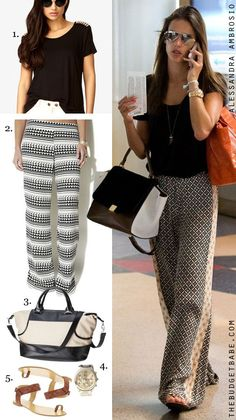 Alessandra Ambrosio's palazzo pants look for less #dressbynumber