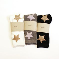 Twinkle socks - Ivory with Gold Stars