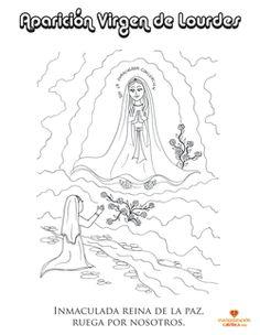 Dibujo para colorear. Virgen de Lourdes. www.evangelizacioncatolica.com