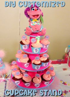 First Time Mom and Losing It: DIY Abby Cadabby Birthday Party: Customized Cupcake Stand #Tutorial Under $7 to make!