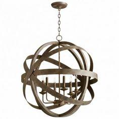 Gray Metal Globe Pendant