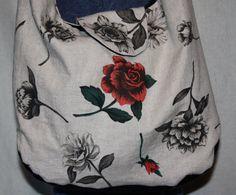 SOLD - Oversize Shoulder Bag w/handpainting Faux by MISSJEANSTHINGS, $35.00