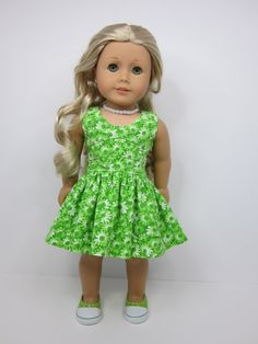 American girl doll clothes- pretty green flowered lisianthus dress by JazzyDollDuds.