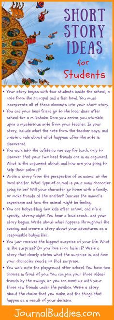 These short story ideas will help your students get started and will give them the foundation they need in order to begin writing a one-of-a-kind story that won't be told by anybody else! 5th Grade Writing Prompts, Writing Prompts For Kids, Narrative Writing, Writing Workshop, Kids Writing, Teaching Writing, Writing Skills, Writing Activities, English Creative Writing