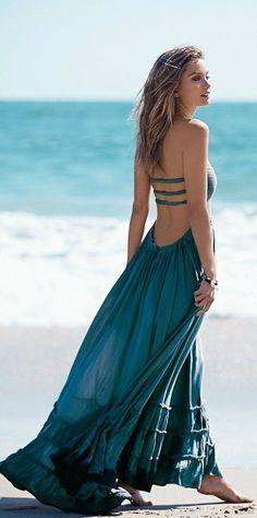 Summer trends   Teal maxi dress
