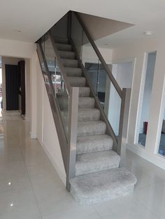 Kardashian Home Interior House Staircase, Staircase Design, Home Renovation, Home Remodeling, Decoration Hall, Painted Staircases, Glass Stairs, Hallway Designs, Hallway Inspiration