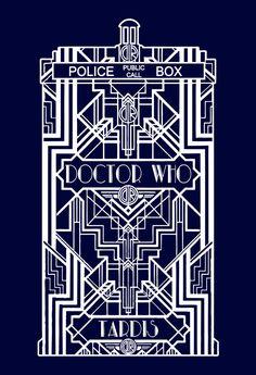 Doctor Who Dr. Who Art Deco Tardis Whovian 100% Cotton Tshirt Mens Womens #CrewNeck