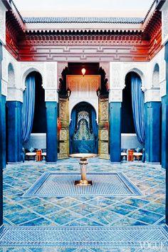 Blue floor tile in Morocco