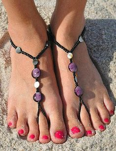Black Abalone Barefoot Sandals