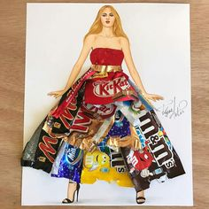 Candy wrappers couture👌🏼 Well i know these are something that we use do Throw as trash, but i decided to make it into art. Arte Fashion, 3d Fashion, Fashion Mode, Fashion Design Drawings, Fashion Sketches, Mode Collage, Fashion Illustration Dresses, Trash Art, Illustration Mode