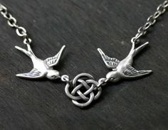 Birds and Celtic Knot Necklace ~ I love this! <3